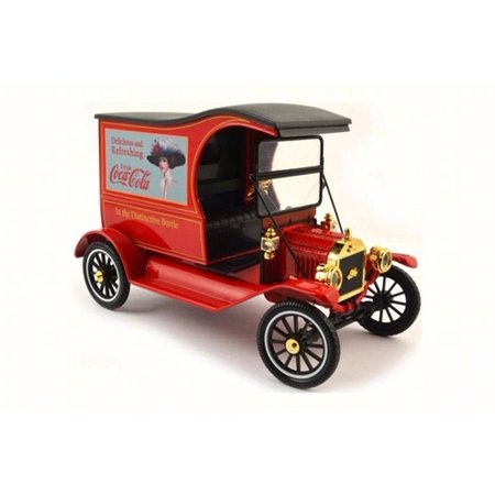 1917 Model T Cargo Van Truck, Red with Black Roof - Motorcity Classics 449804 - 1/18 Scale Diecast Model Toy Car