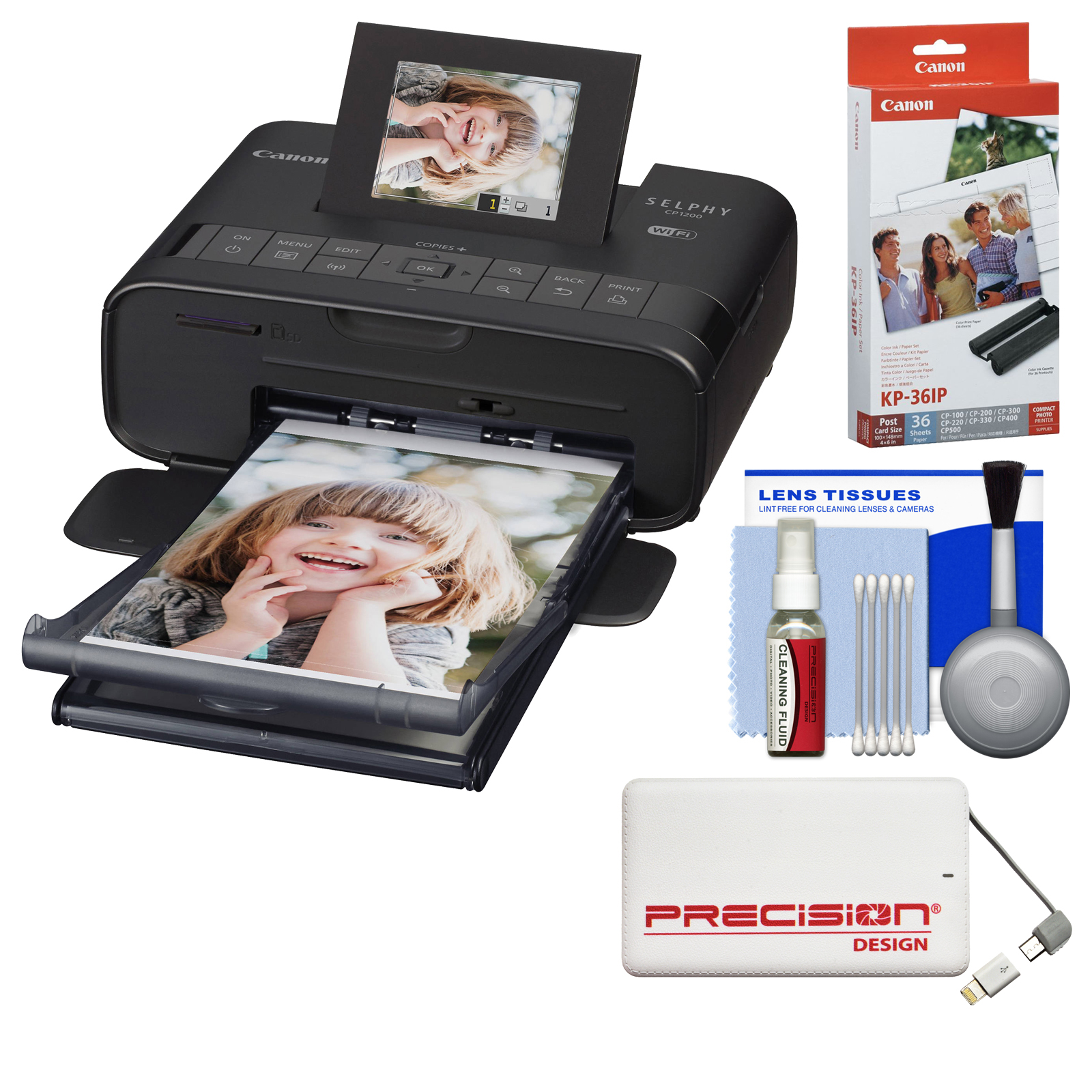 Canon SELPHY CP1200 Wi-Fi Wireless Compact Photo Printer (Black) with Ink + Paper + Portable Power Pack + Kit