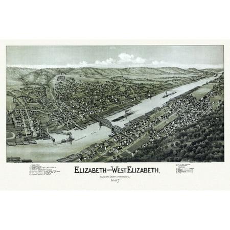Old Map Of Elizabeth Pennsylvania 1897 Allegheny County Canvas Art     24 X 36