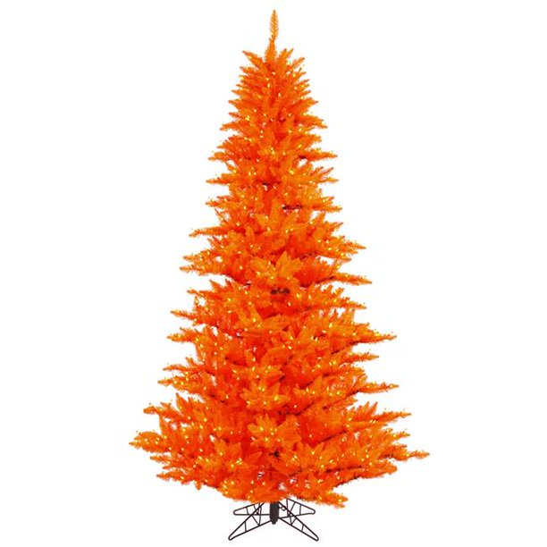 Vickerman 3' Orange Fir Artificial Christmas Tree with 100 Orange LED Lights