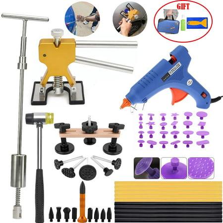 Car Body Paintless Dent Repair Removal Tools Pops a Slide Hammer Golden Lifter Hot Melt Glue Gun Pro Glue Sticks Suction (Steck Auto Body)