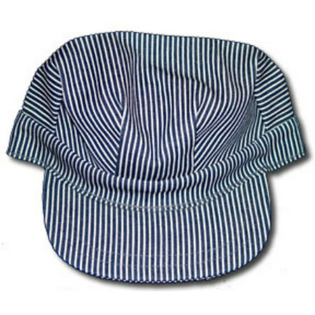 Adult Conductor Hat (Train Engineer Hat Cap Conductor Blue White Striped Railroad Adult)