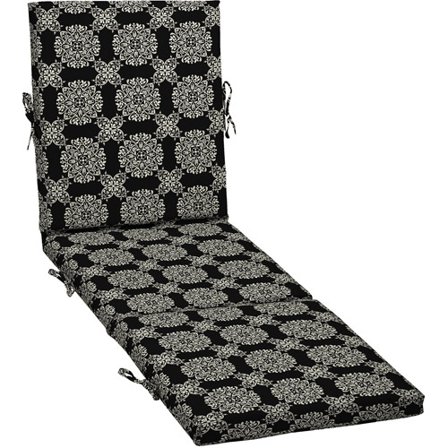 Better Homes and Gardens Outdoor Chaise Cushion, Black Tulip Medallion