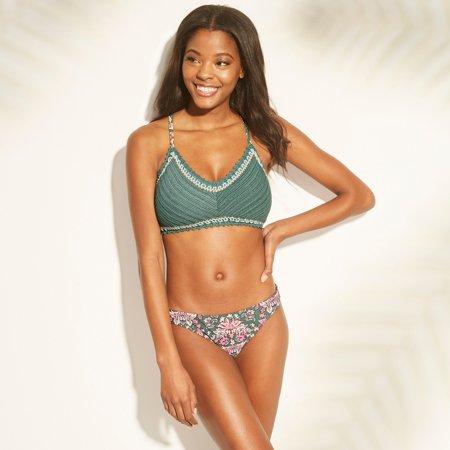 e56cd1d9804f Xhilaration - Xhilaration Women's Crochet Bralette Bikini Top Pine Green XL  - Walmart.com