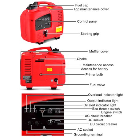 Portable 2750W Digital Inverter Generator 4 Stroke 125cc Single Cylinder Red - image 4 of 10