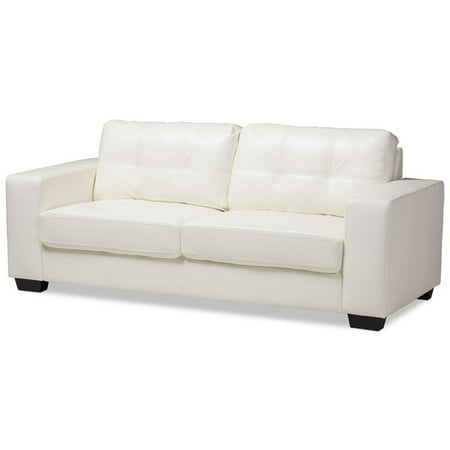 Baxton Studio Adalynn Faux Leather Upholstered Sofa in White