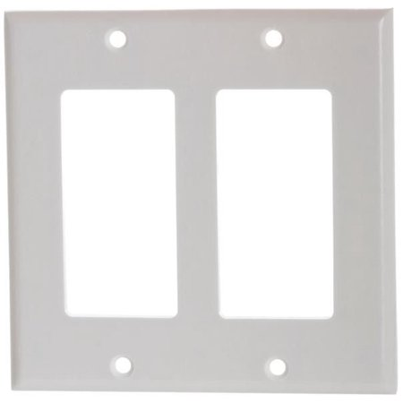 Decora Style Wall - White Plastic Double-Gang Decora Style Wall Face Plate 2-Gang
