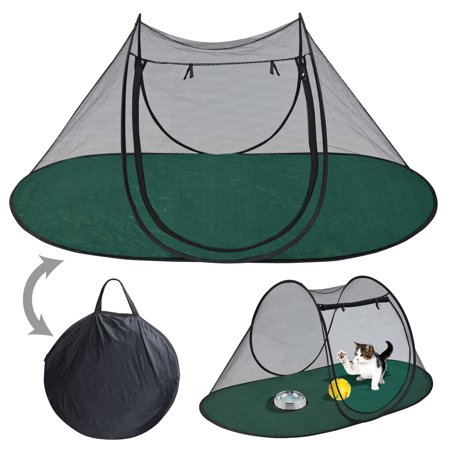 Sunrise Pet Portable Playpen Exercise Tent with Carry Bag, for Small Animal, Cat, Dog, Black and Green, Size: 189x90x78 cm