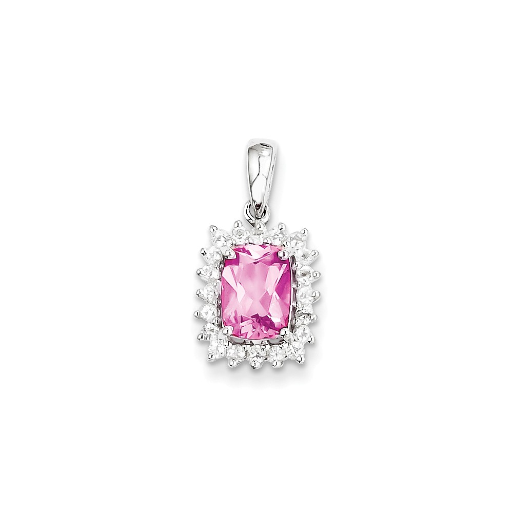 925 Sterling Silver Rhodium Plated White Topaz and Pink Tourmaline Pendant (20mm x 11mm) by