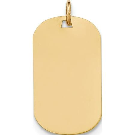 Leslies Fine Jewelry Designer 14k Yellow Gold Plain 9 Gauge Engraveable Dog Tag Disc Pendant Gift