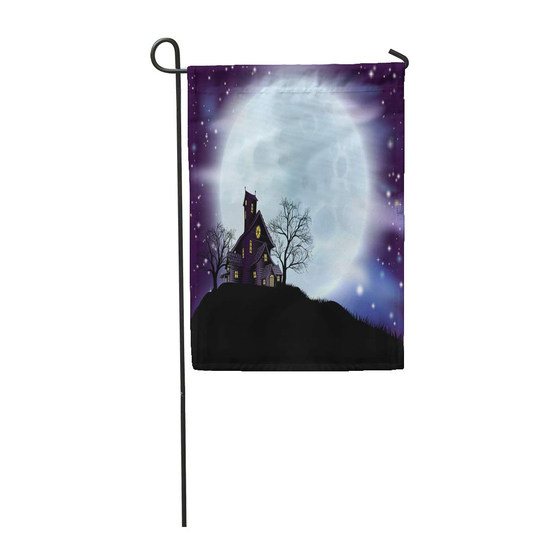 Nudecor Purple Of Scary Halloween Haunted House In Silhouette With Spooky Trees Blue Garden Flag Decorative Flag House Banner 12x18 Inch Walmart Canada