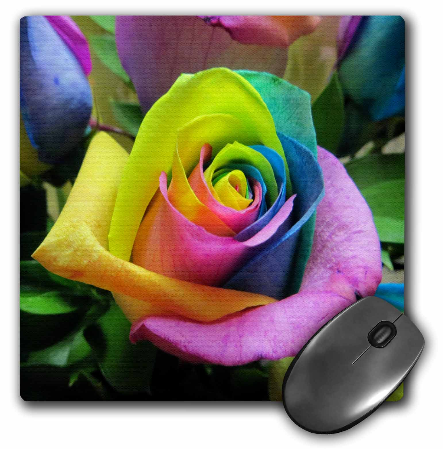3dRose Tye Dye Roses, Mouse Pad, 8 by 8 inches