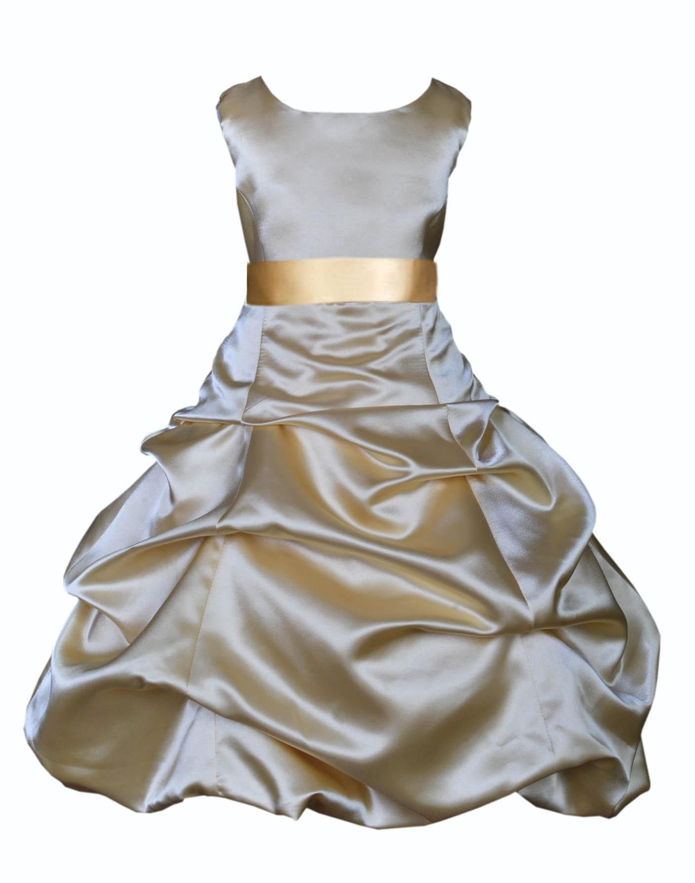 Ekidsbridal Formal Satin Gold Flower Girl Dress Christmas Bridesmaid Wedding Pageant Toddler Recital Easter Holiday Communion Birthday Baptism Occasions 2 4 6 8 10 12 14 16 806s mercury grey size 6