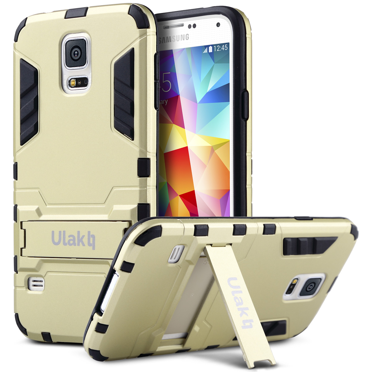 ULAK Galaxy S5 Case, Dual Layer Impact Heavy Duty Slim Kickstand Bumper Case Hybrid Protective Cover For Samsung Galaxy S5 (Champaign Gold)