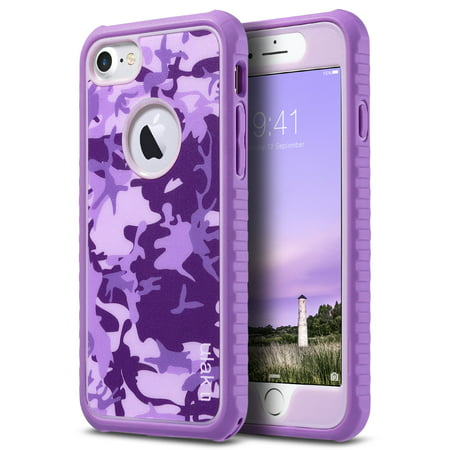 iPhone 7 Case, ULAK Shock-absorbing Flexible Durability TPU Bumper Case, Durable Anti-Slip, Front and Back Hard PC Defensive Protection Cover for Apple iPhone 7 4.7 inch (2016), Purple Camo