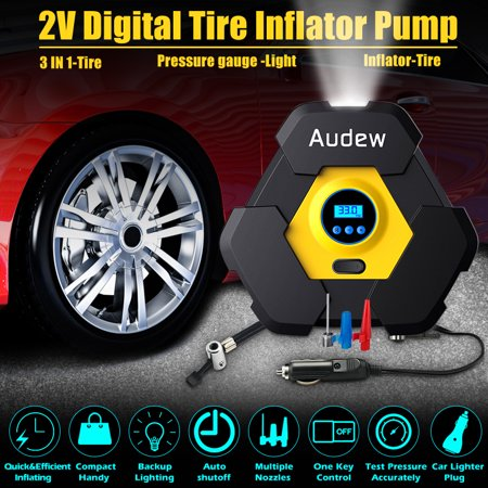 Audew Portable Air Compressor Pump DC12V Auto Digital Tire Inflator, 12V 150 PSI Tire Pump with 3M Power Line for Car, Truck, Bicycle, and Other