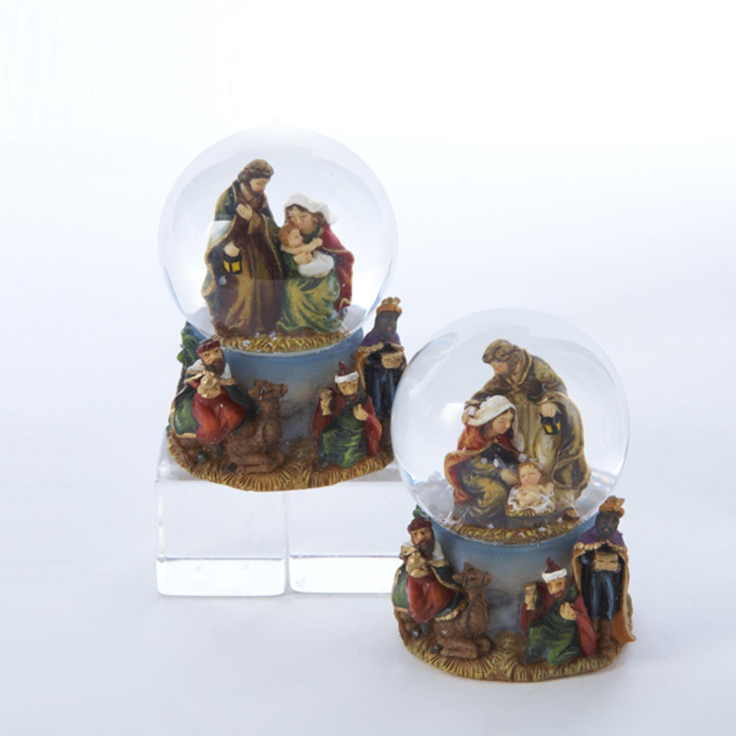 """Pack of 12 Assorted Mary, Joseph and Jesus Christmas Nativity Snow Globes 1.75"""""""