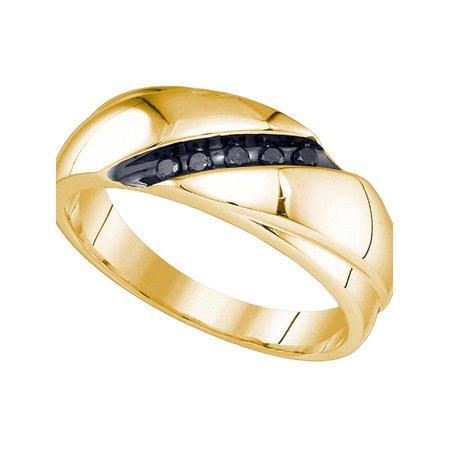10kt Yellow Gold Mens Round Black Color Enhanced Diamond Band Ring 1/8 Cttw - image 3 of 3