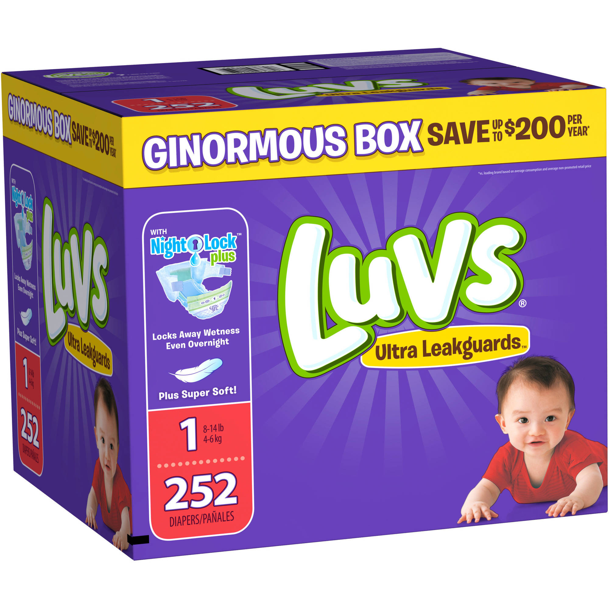 Luvs Ultra Leakguards Diapers, Size 1, 252 Diapers