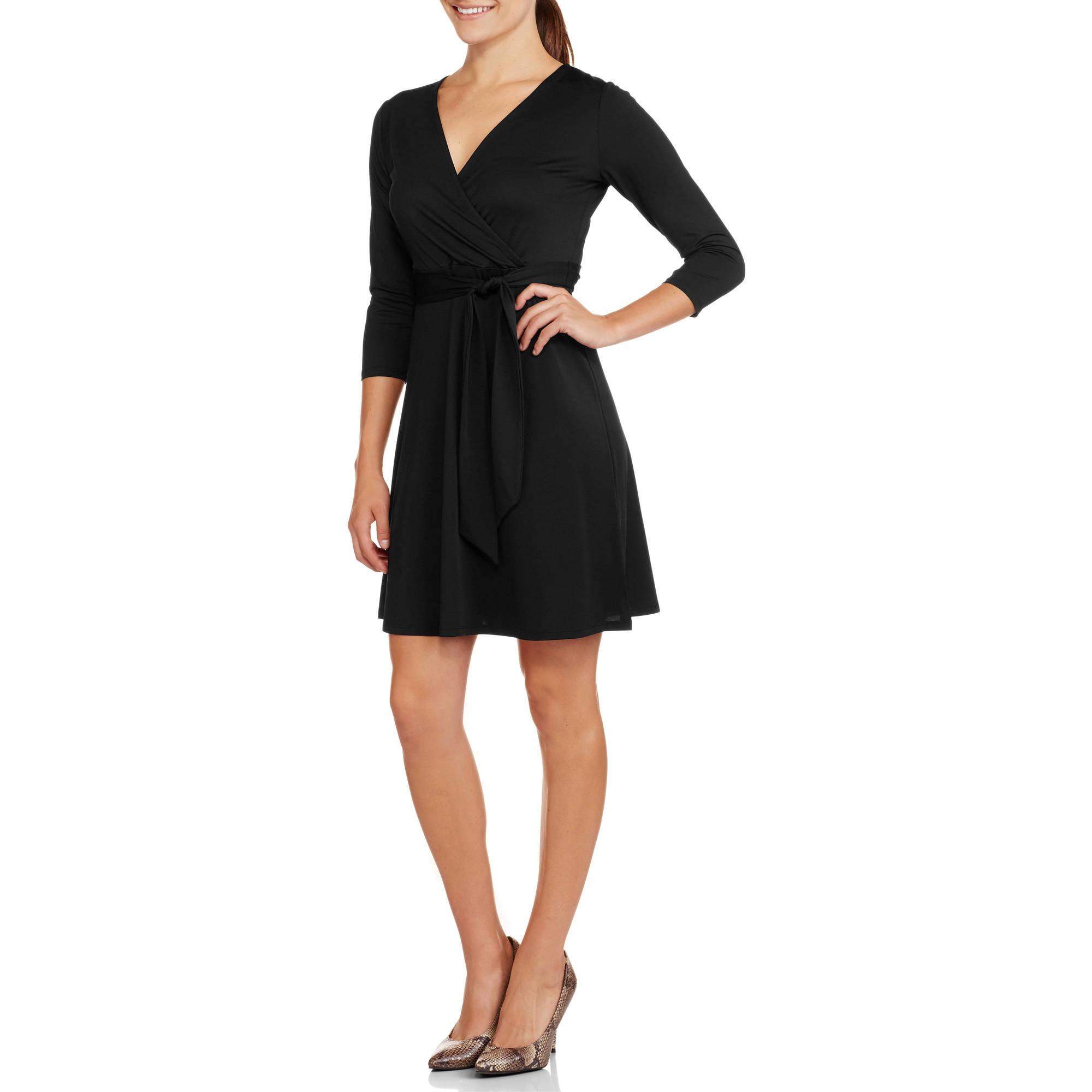 George Women's Surplice Long Sleeve Wrap Dress - Walmart.com