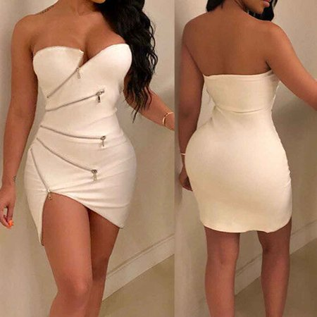 Sexy Fashion Women Off Shoulder Bodycon Party Evening Cocktail Mini Dress Club (One Shoulder Club Cocktail Mini)