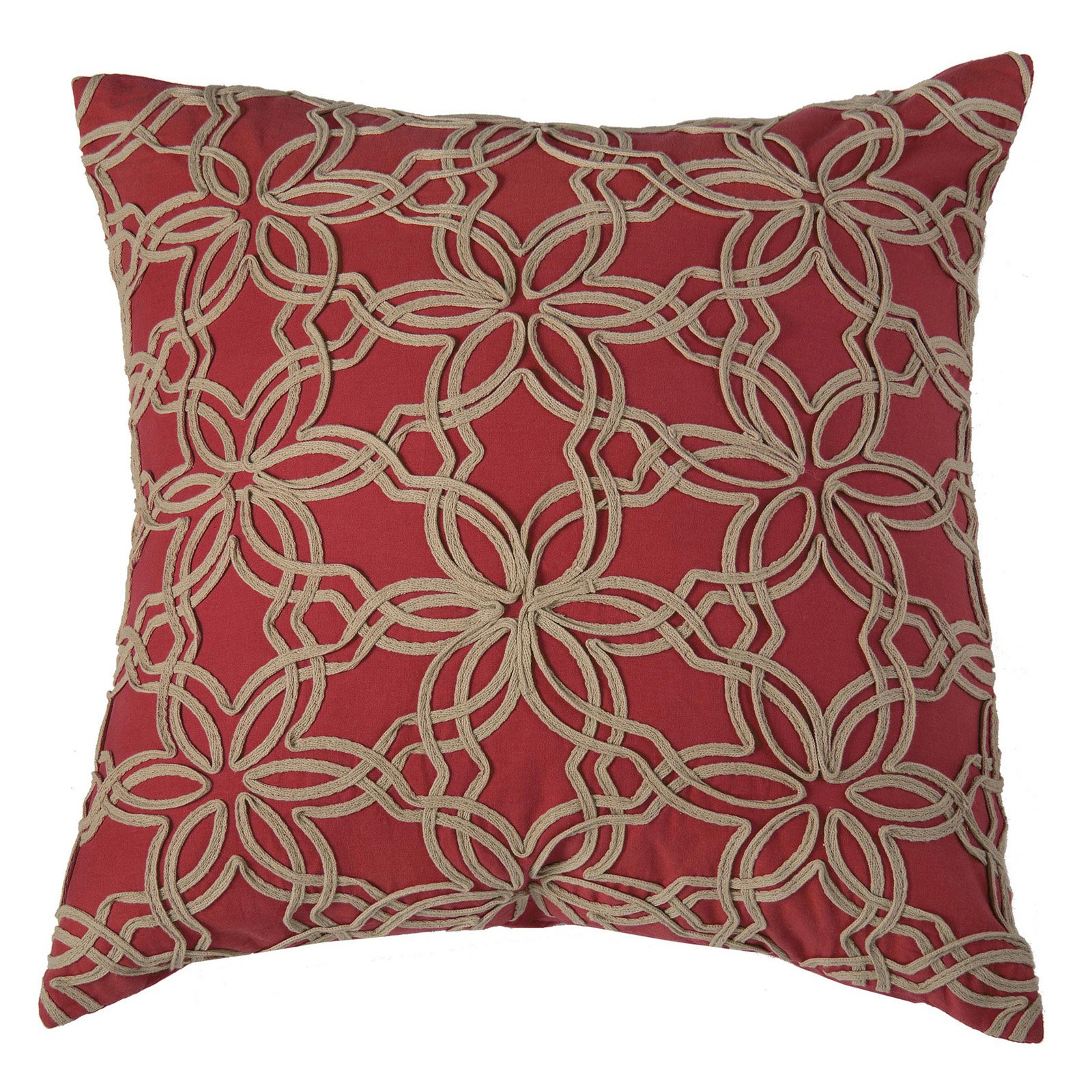 """Rizzy Home Decorative Poly Filled Throw Pillow Textured Floral 20""""X20"""" Red"""