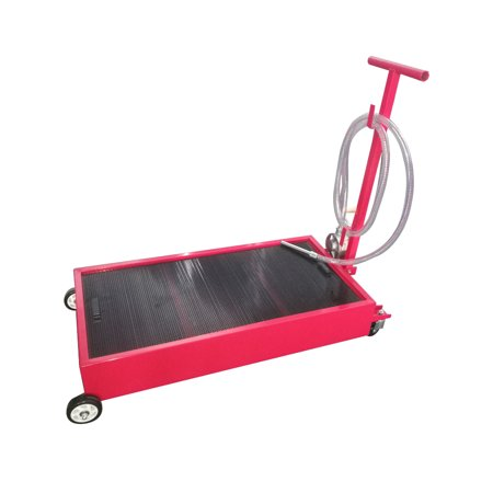 Zimtown Portable Oil Drain Pan With Pump 20 Gallon Low Profile Oil Change Pan for Truck Car with 8' Hose,