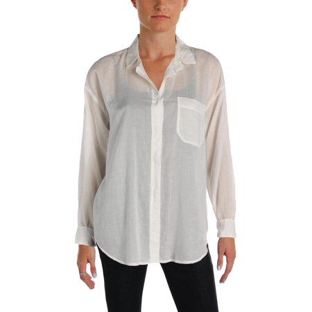 Scotch & Soda Womens Contrast Stitching Pocket Button-Down Top
