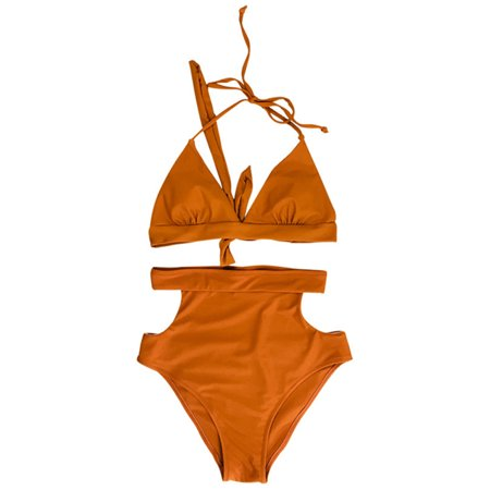 Sexy Women High Waist Bikini Set Halter Straps Cut Out Side Backless Two Piece Swimsuit Swimwear Cut Out Halter Swimsuit