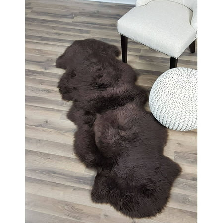 Genuine Australian Sheepskin Fur Rug Brown