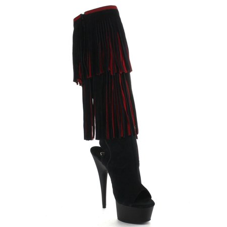 PLEASER DELIGHT-2059TT Women's Two Tone Knee High Double-Layer Fringe Boots (Pleasers Boots)