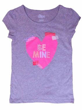 432c49e0ac68d Product Image Girls Gray Be Mine Pink Glitter Heart Valentine Tee Shirt T- Shirt
