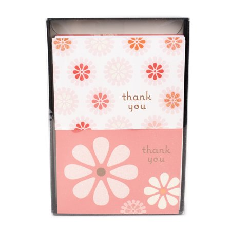 Pansy Note Card - Hallmark Thank You Notes (Pink Flowers, 50 Cards and Envelopes)
