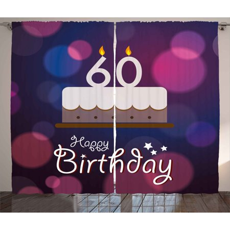 60th Birthday Decorations Curtains 2 Panels Set Cartoon Modern Party Cake Quote On Abstract Backdrop