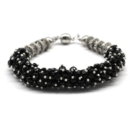 - Man Made Crystal Sparkly Bling Shiny Dressy CZ Bracelet With Magnetic Ends in Black