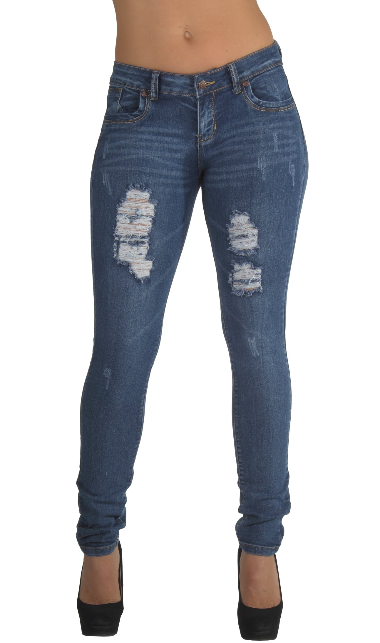 Style CH032P - Plus Size, Classic, Ripped Distressed, Destroyed Skinny Jeans