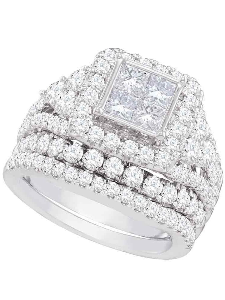 Size 7 14k White Gold Princess Cut Diamond Halo Bridal Wedding Engagement Ring Band Set 3-(1 3 Cttw) by AA Jewels