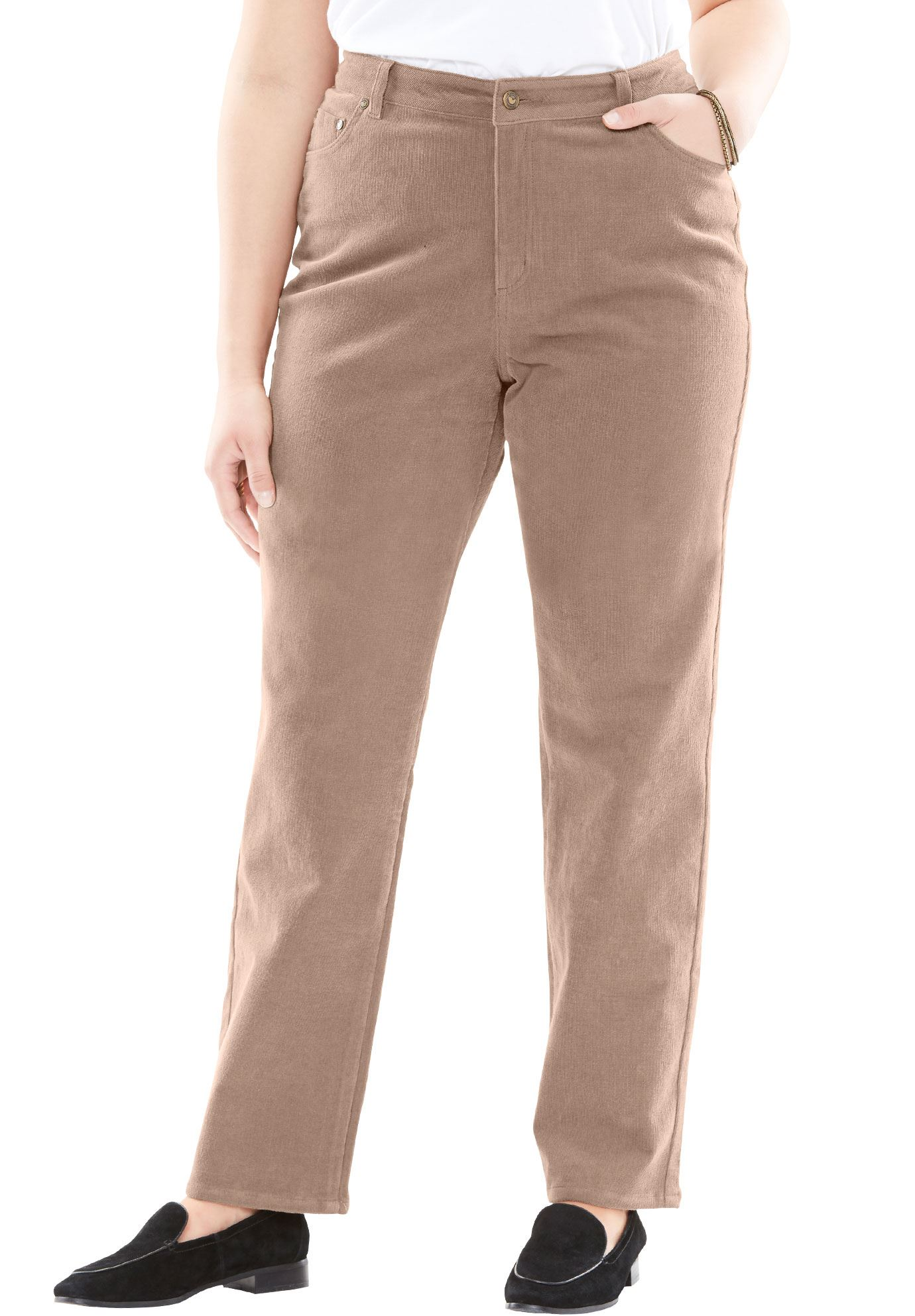 Plus Size Corduroy Straight Leg Stretch Pant