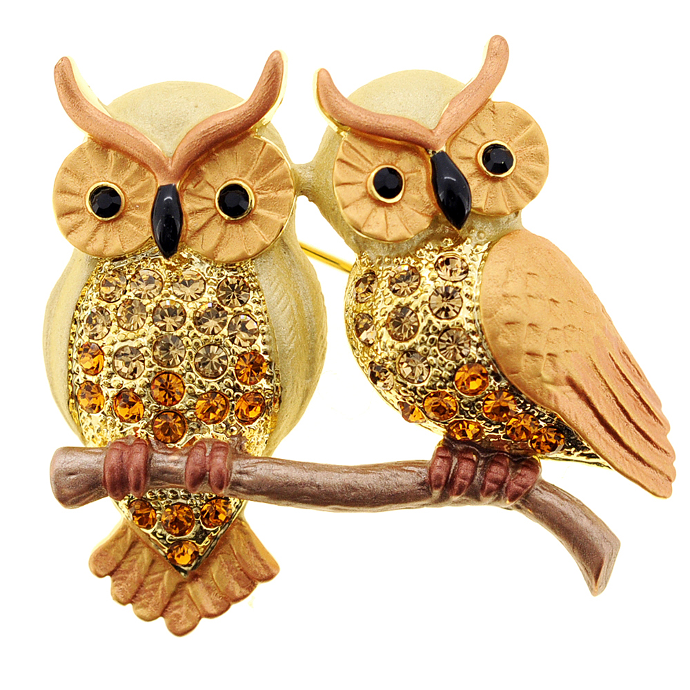 Topaz Brown Couple Owl Crystal Pin Brooch by