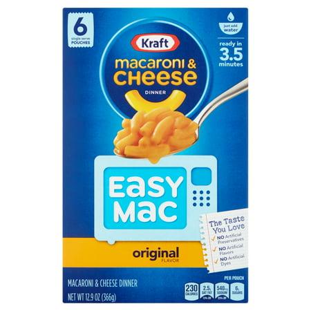 Kraft Macaroni & Cheese Dinner Easy Mac Original, 6 Snack ...