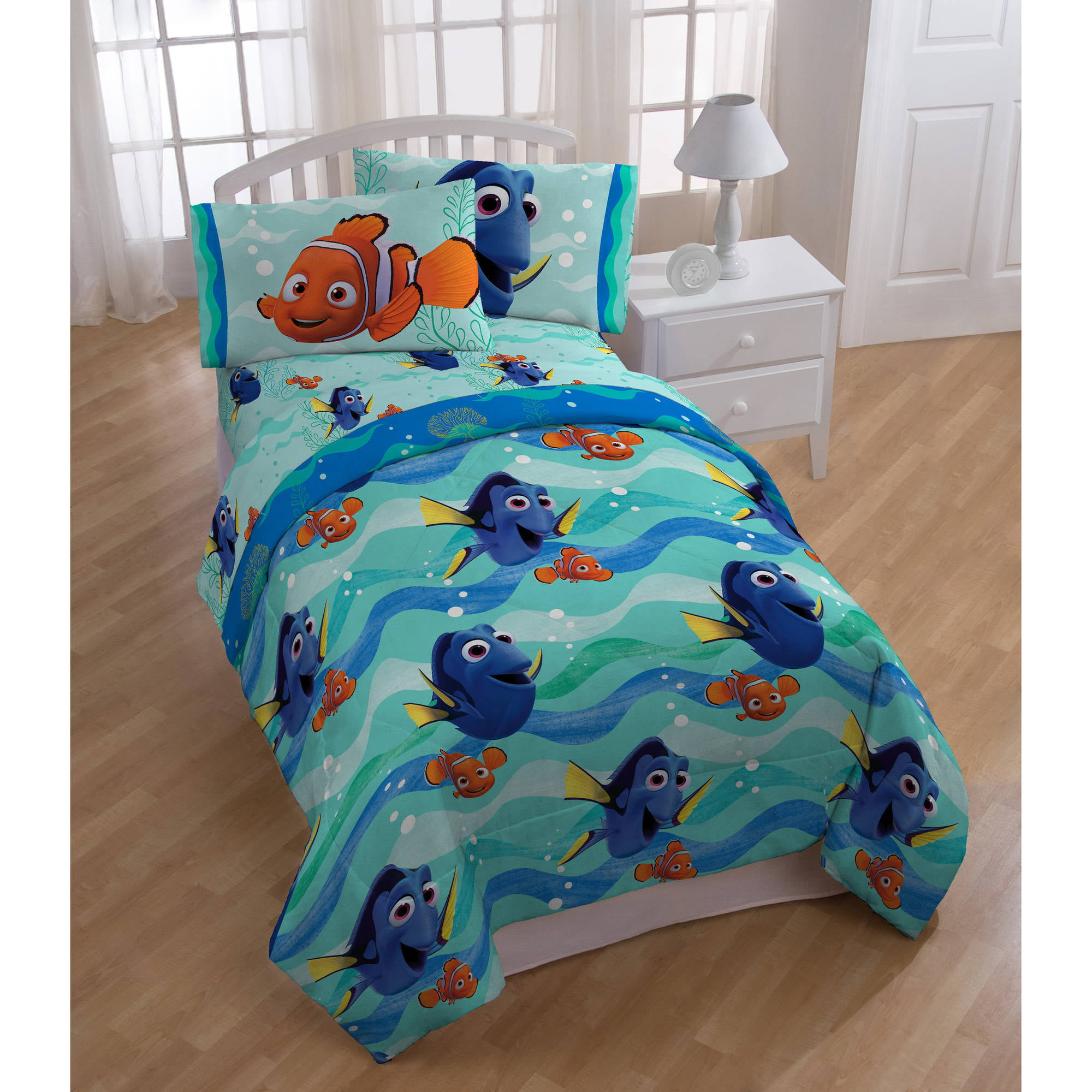 Disney Finding Dory Nemo Pin Baby Bed In A Bag 5 Piece Twin Bedding Sheet Set Ebay