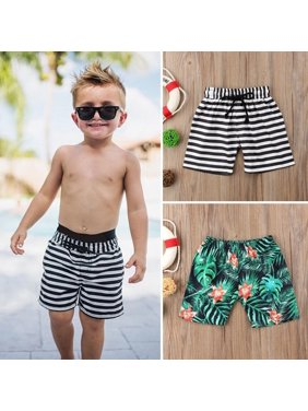 Kids Baby Boy Floral Striped Shorts Beach Short Pant Casual Sport Pants Swimwear