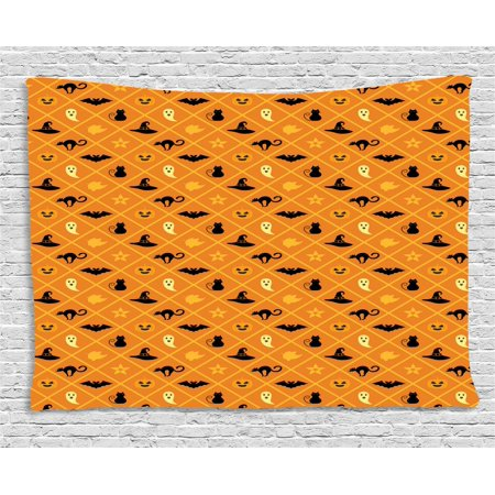Ghost Tapestry, Geometric Pattern of Halloween Symbols Cat Hat Bat Ghost Leaves Pumpkin, Wall Hanging for Bedroom Living Room Dorm Decor, 60W X 40L Inches, Orange Black Pale Yellow, by - Halloween Palm Springs 2017