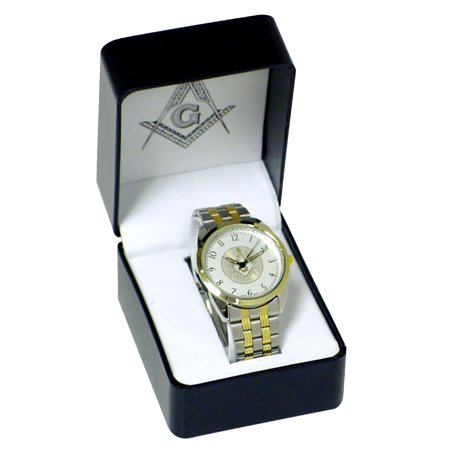Metal Wrist Watch Gift - New Silver Tone Masonic Men's Wrist Watch Metal Band Mens Master Free Mason Gift