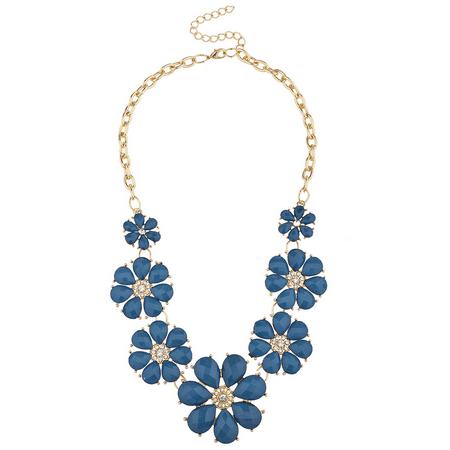 Lux Accessories Goldtone and Royal Blue Flower Rhinestone Statement Bib Necklace
