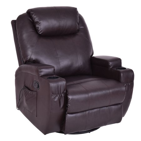Costway Mage Sofa Chair Recliner Heated Rocking Swivel W Control And Cup Holder