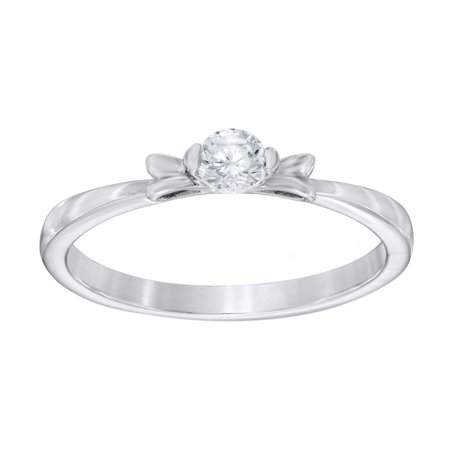 0.25 Bow - White Natural Diamond Solitaire Bow Ring in 10k Solid Gold (0.25 Cttw)