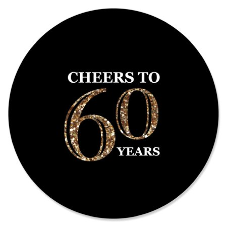 Adult 60th Birthday - Gold - Birthday Party Circle Sticker Labels - 24 Count - 60th Birthday Hat