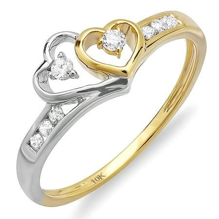 Two Tone Gold Promise Ring (0.10 Carat (ctw) 10K White & Yellow Gold Round Diamond Ladies Bridal Promise Two Tone Ring 1/10)