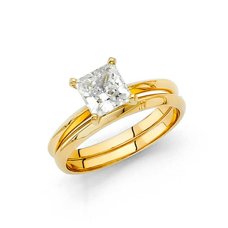 Bridal Duo Band (14k Yellow Italian Solid Gold 1.0ctw Princess Cut Plain Solitaire CZ Bridal Engagement Wedding Band Duo Sets Ring Size 6.5 Available All Sizes )